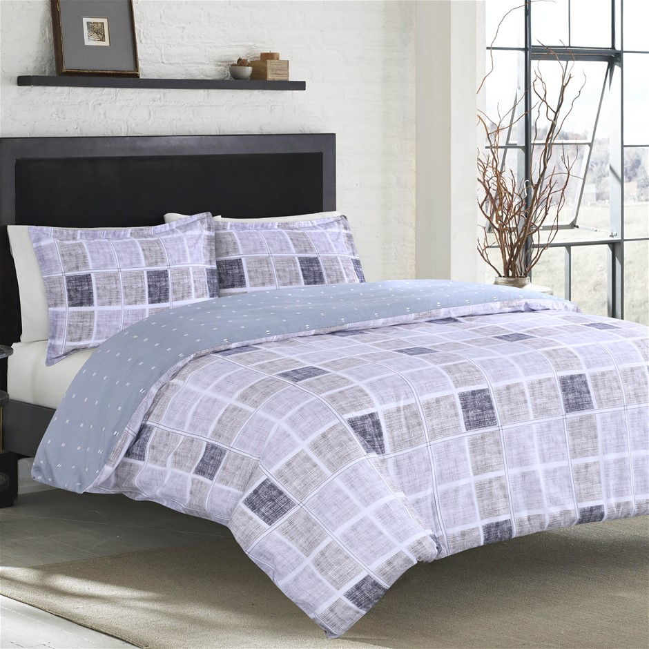 Dreamaker Printed Cotton Sateen Quilt Cover Set King Bed Nawa