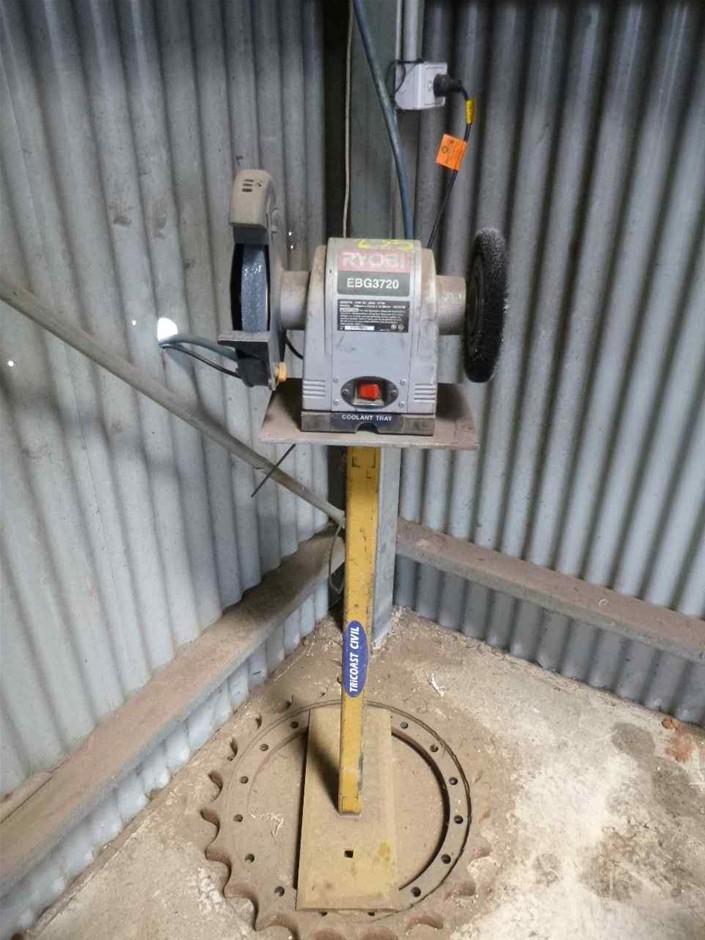 Ryobi bench grinder on stand