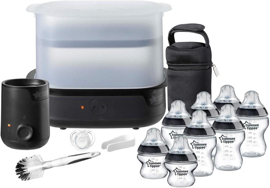 TOMMEE TIPPEE Essentials Starter Kit with Steriliser, Baby Feeding Bottles,