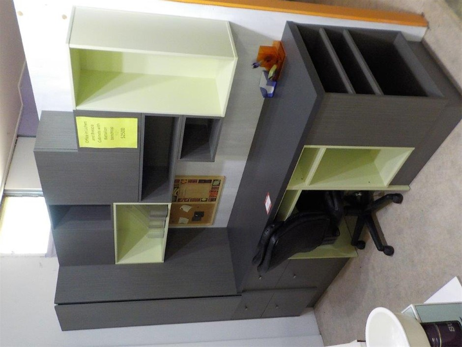 Office Desk and Cabinets Display Unit