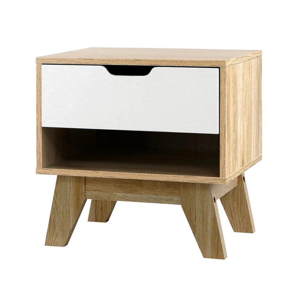 Artiss Bedside Table Drawer Nightstand Shelf Cabinet Lamp Side Wooden