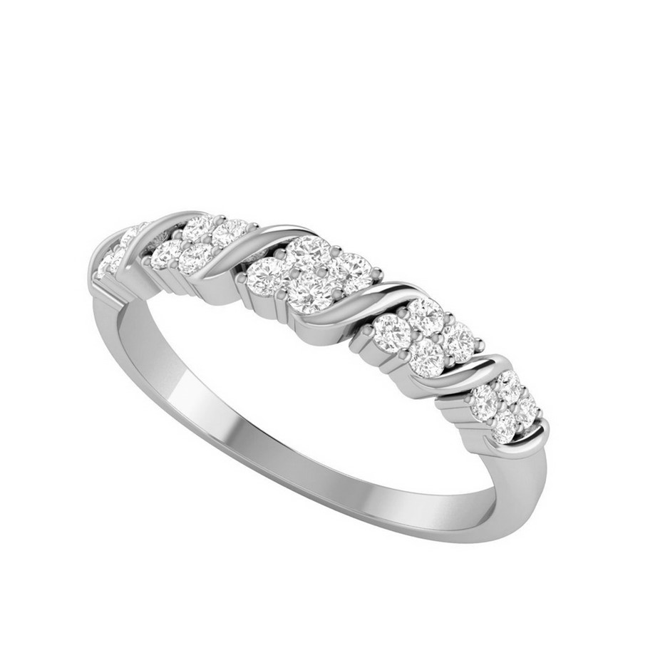 9ct White Gold, 0.20ct Diamond Wedding Ring