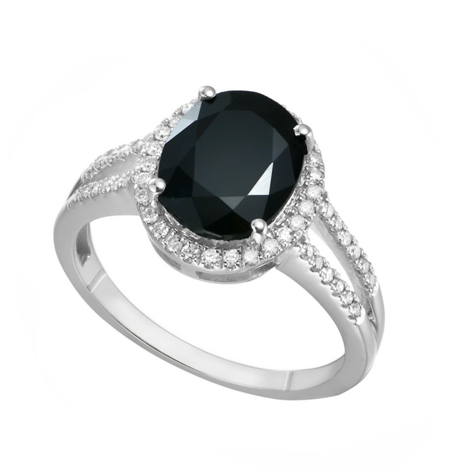 9ct White Gold, 3.62ct Blue Sapphire and Diamond Ring