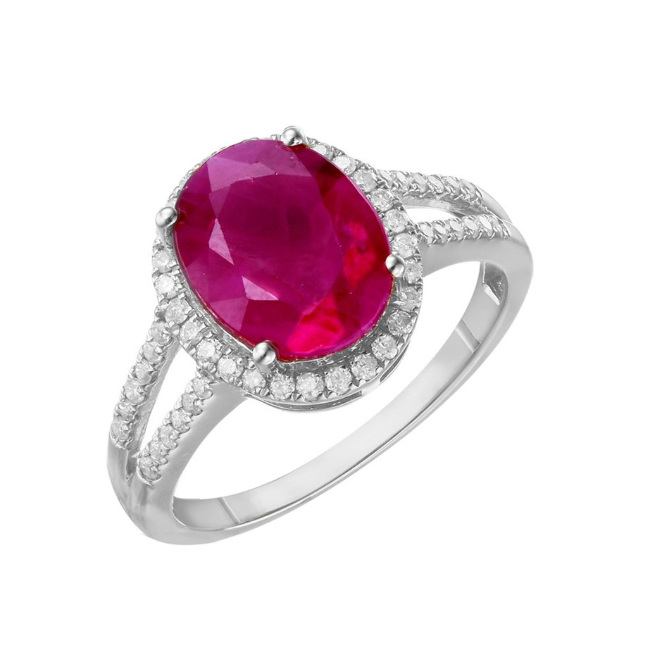 9ct White Gold, 4.16ct Ruby and Diamond Ring