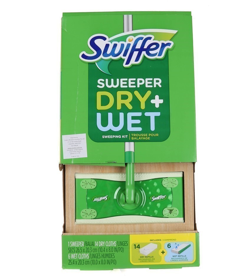 SWIFFER Sweeper Dry + Wet Kit. Includes 6 Wet Mopping Cloths & 14 Dry Moppi