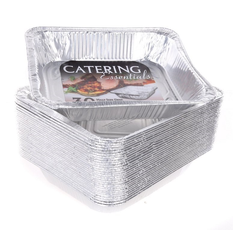 30 x CATERING ESSENTIALS Half Size Deep Steam Table Pans, 29.8 x 23.8 x 6.5