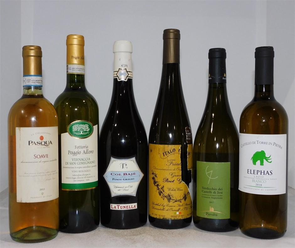 Pack of Assorted Italian White Wine (6x 750mL), Italy, Cork Closure