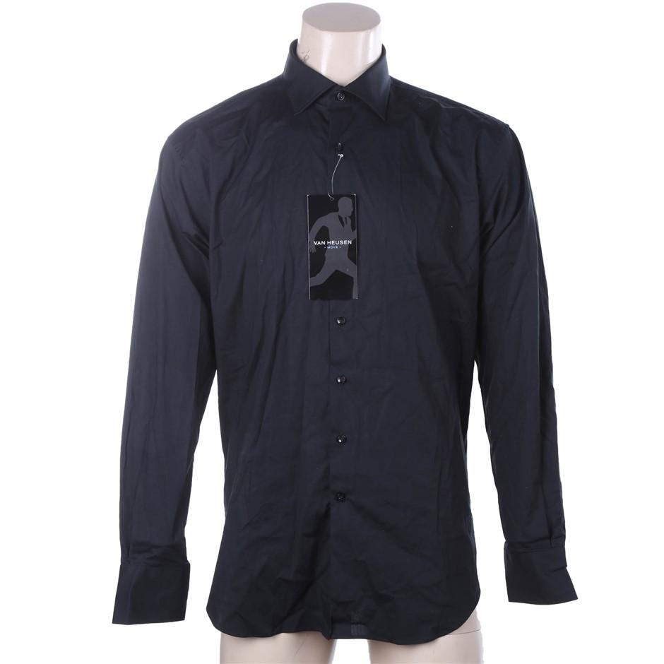 VAN HEUSEN Men`s Button Up Dress Shirt, Size 43, Cotton, Black. Buyers Note