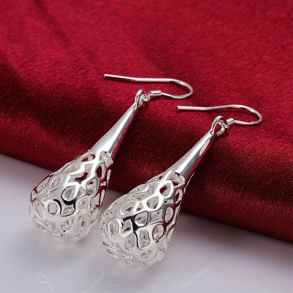 Antique 925 Sterling Silver Filled Filigree Teardrop Drop Earrings
