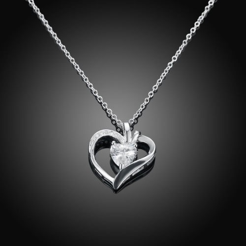925 Sterling Silver Filled Crystal Love Heart Pendant Necklace Chain