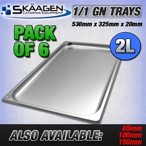 Unused 1/1 Gastronorm Trays 20mm - 6 Pac