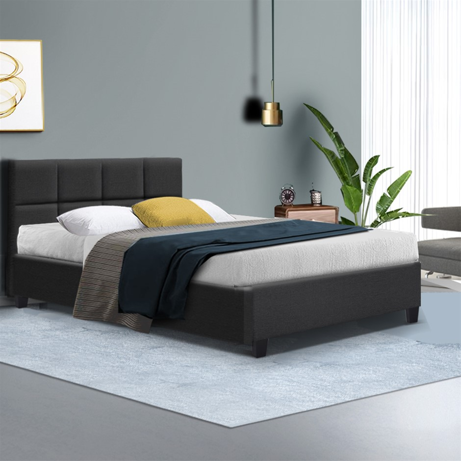 Bed Frame Double Size Base Mattress Platform Fabric Wooden Charcoal TINO