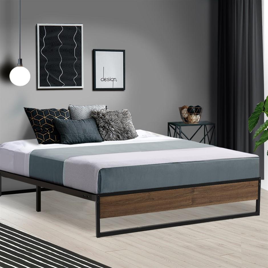 Metal Bed Frame Double Mattress Base Platform Foundation Wooden Black OSLO