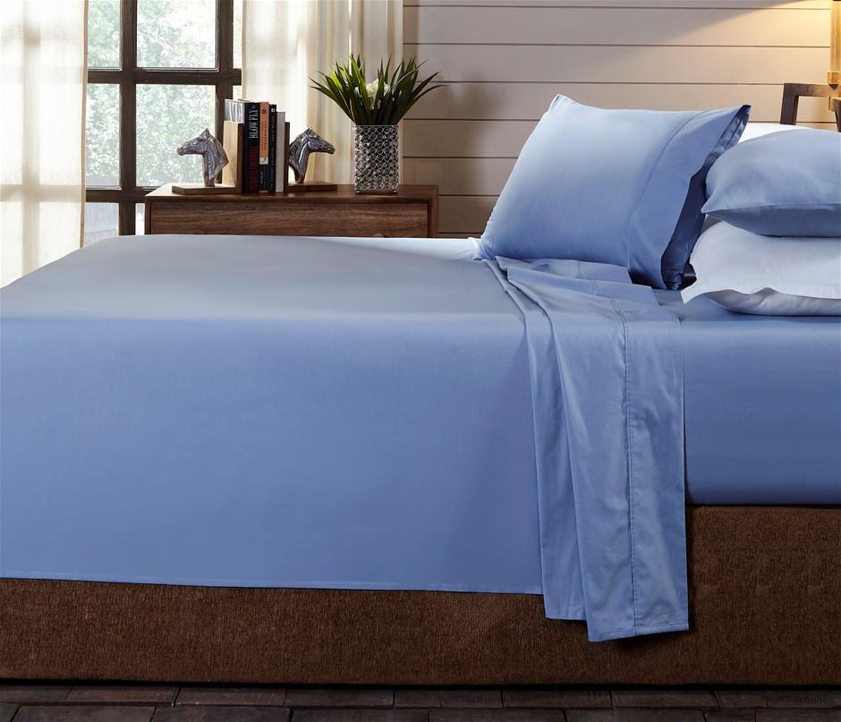 Royal Comfort 250TC 100% Organic Cotton 4 Piece Sheet Set Queen Indigo