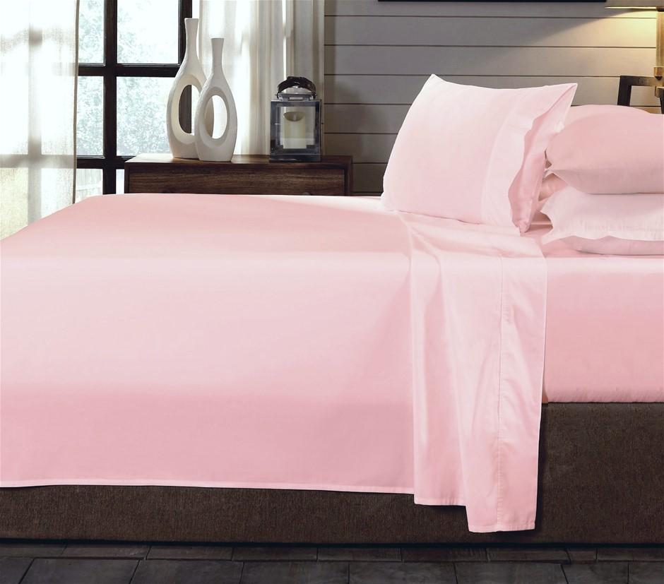 Royal Comfort - 250TC 100% Organic Cotton 4 Piece Sheet Set - Queen - Blush