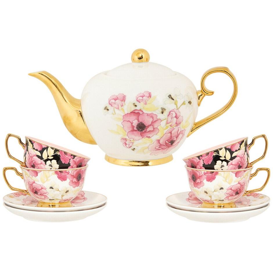 CRISTINA RE Bone China Luxury Floral High Tea Set, Tea-Pot , 4 x Cups & Sau