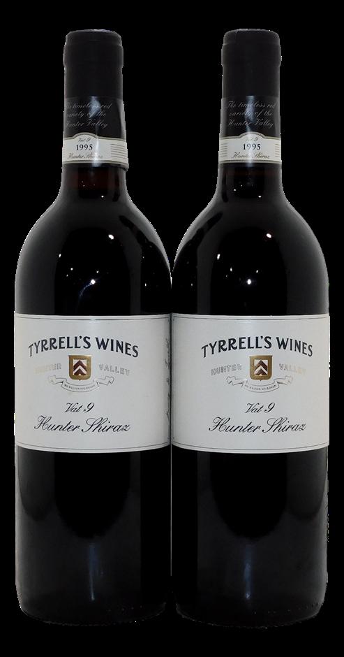 Tyrrells Wines Vat 9 Shiraz 1995 (2x 750mL), Hunter Valley, NSW. Cork