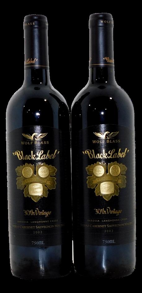Wolf Blass Black Label 30th Shiraz Cabernet Malbec 2002 (2x 750mL) SA. Cork