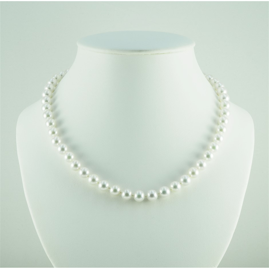 9ct White Gold, 35.97gm Pearl Necklace
