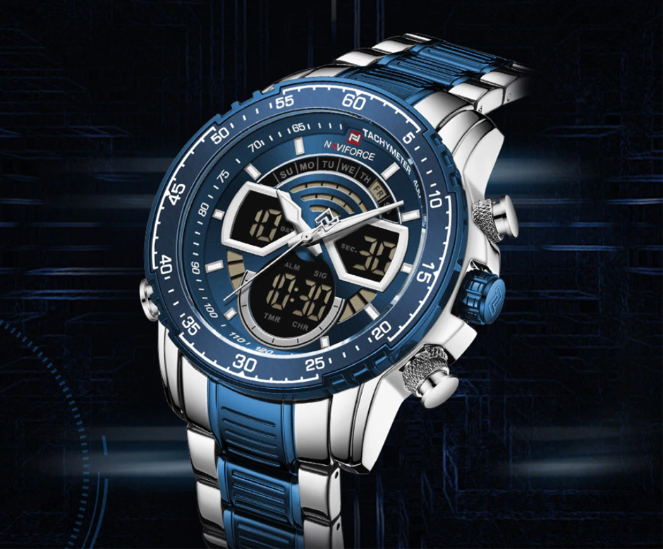 NAVIFORCE Men Sport & Elegant, Analog & Digital Water-Resistant Wristwatch