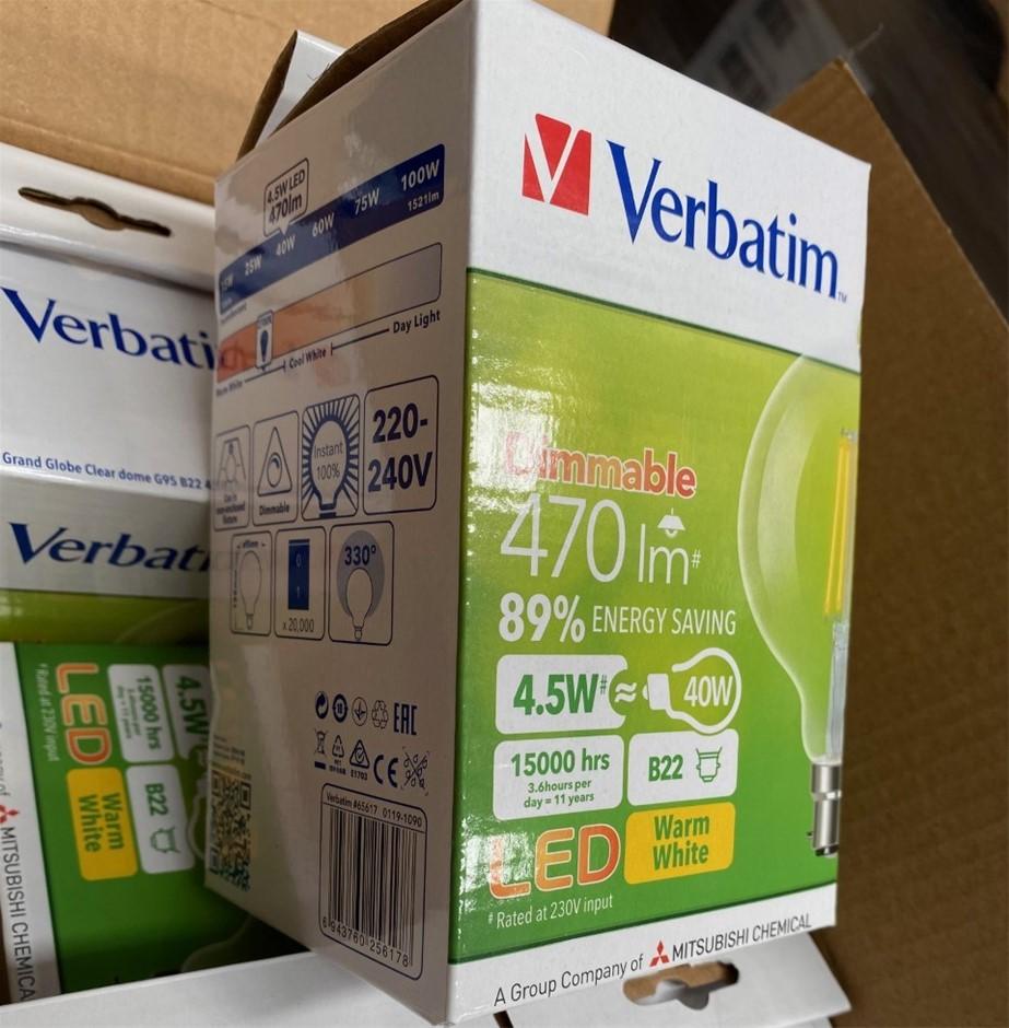 Qty 6 x Verbatim Filament LED Dimmable G95 B22 4.5W 470lm