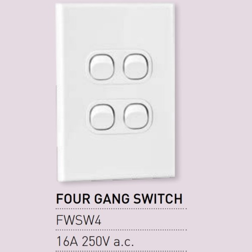 Qty 10 X Vynco Vertical Wall Light Switch Outlet 4 Gang 16A 250V