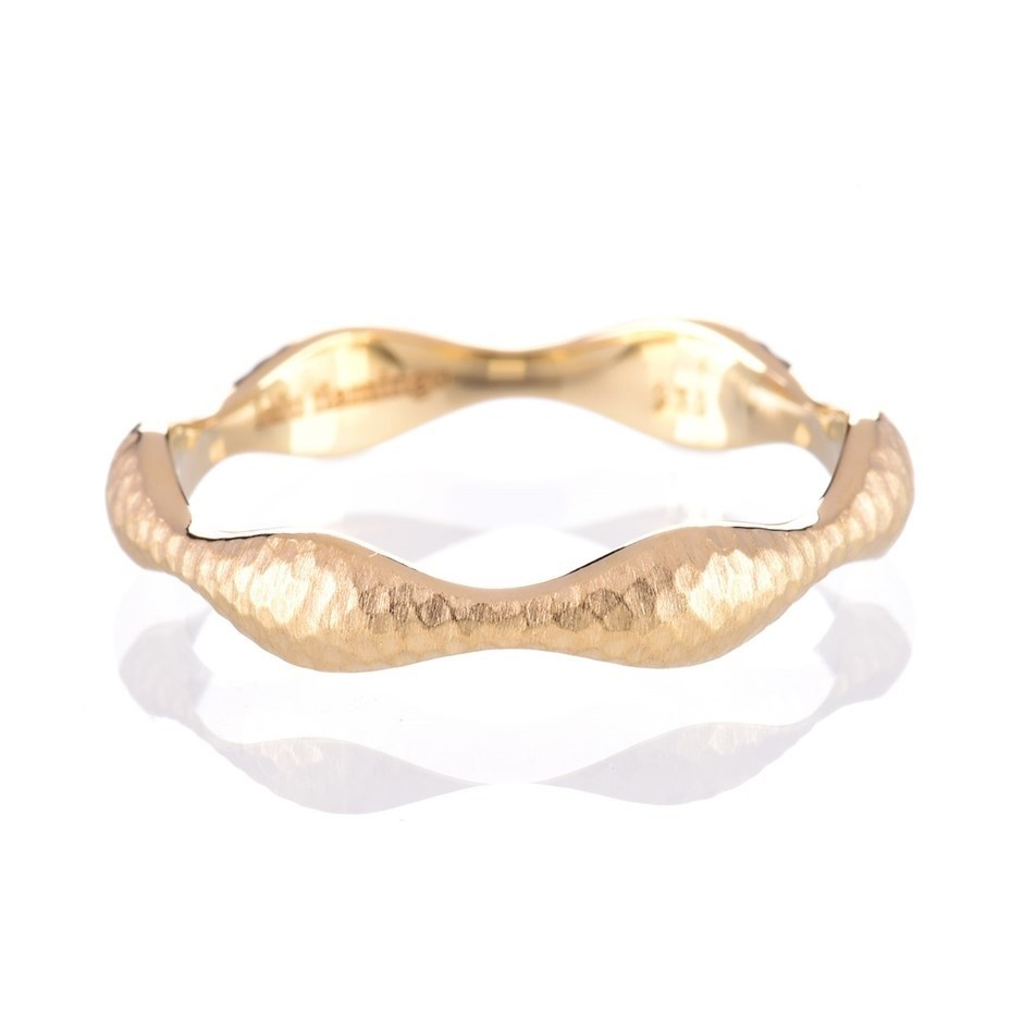 Solid 9ct yellow gold hammered finish ring