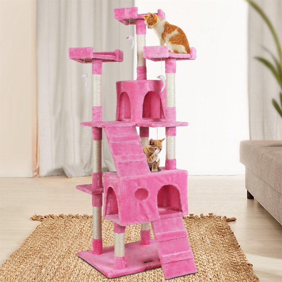i.Pet Cat Tree Trees Scratching Post Scratcher Tower Condo Wood Pink 180cm