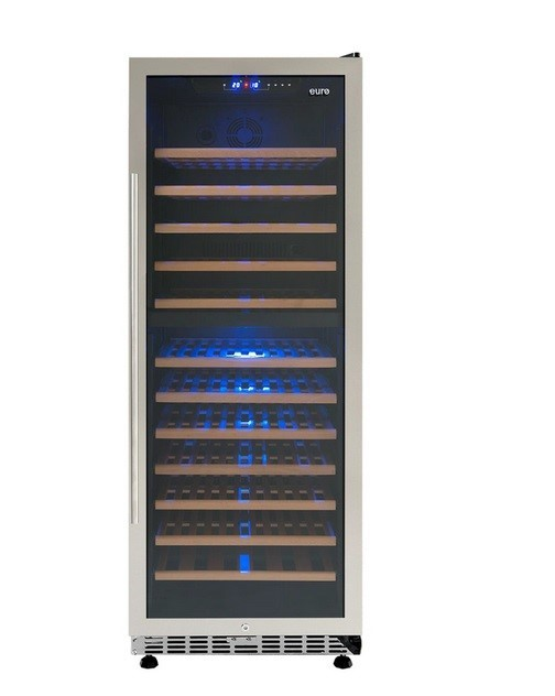 EURO 450L Wine Cooler UV Filtered Glass Front Door w/ Stainless Steel Trim