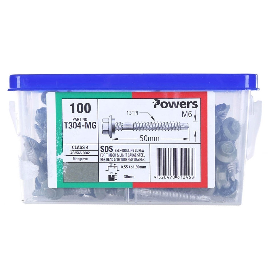 100 x POWERS Self Drilling Timber Screws, M6 x 50mm. Hex Head w/ Neo Washer