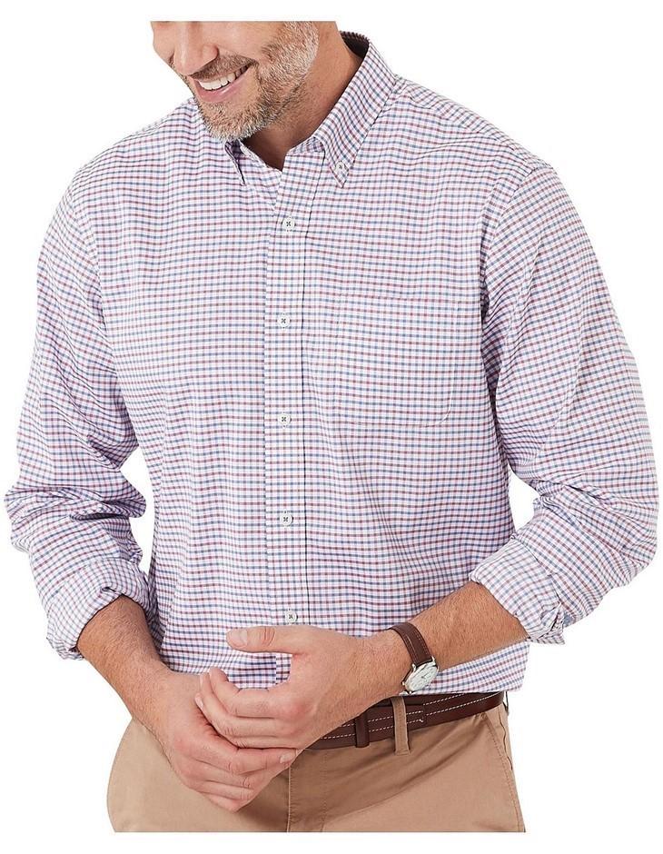 GAZMAN Easy Care Check Shirt. Size XXL, Colour: Navy/Red. 100% Pure Cotton.