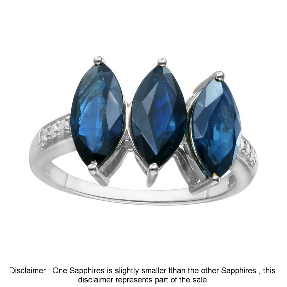 9ct White Gold, 3.11ct Blue Sapphire and Diamond Ring