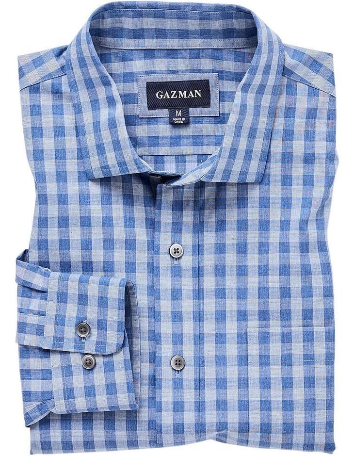 GAZMAN Easy Care Melange Check Shirt. Size XL, Colour: Grey Blue. 100% Cott