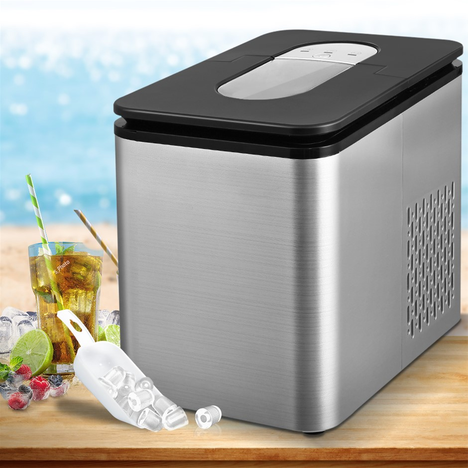 2.2L Ice Maker 12KG Portable Ice Maker Cube Tray Bar Home Countertop Silver