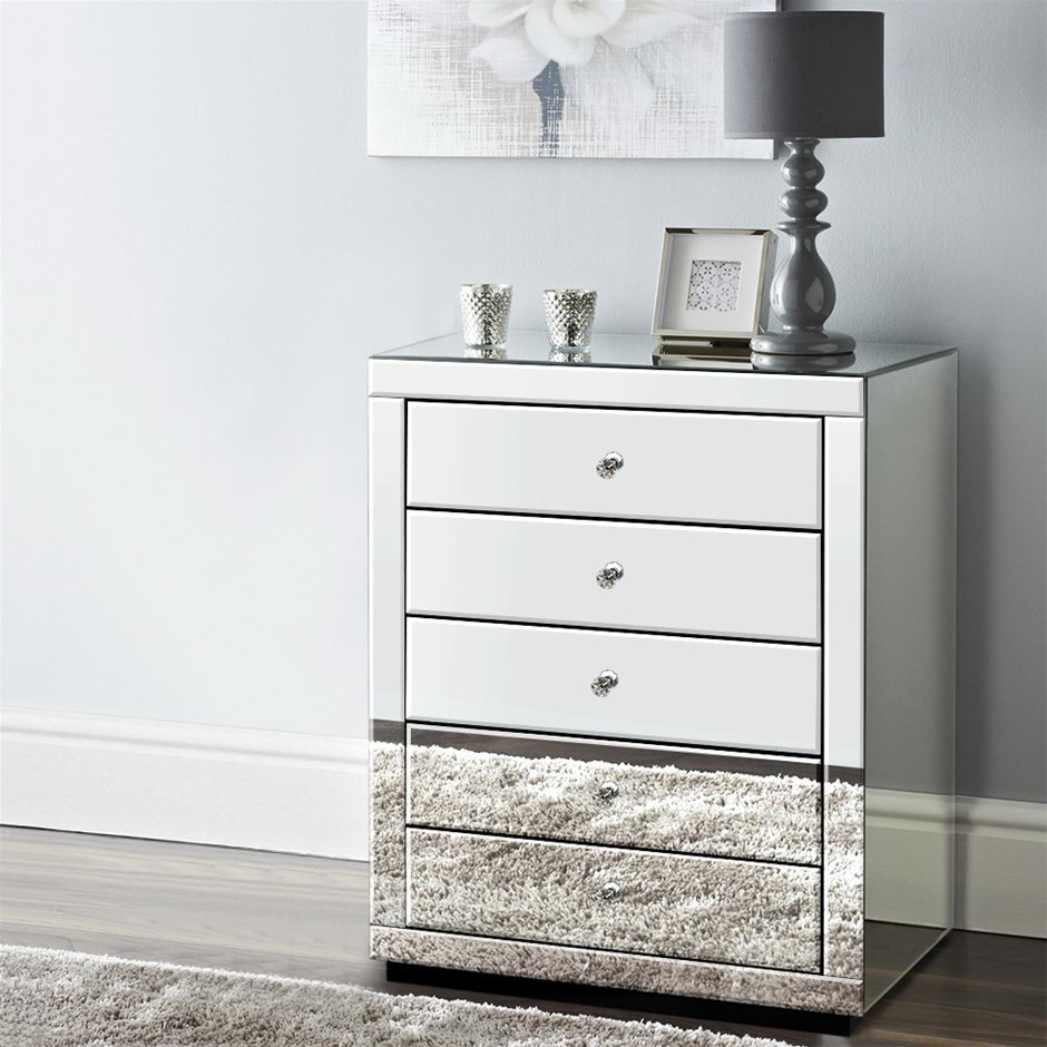 Artiss Chest of Drawers Mirrored Tallboy 5 Drawers Dresser Table Cabinet