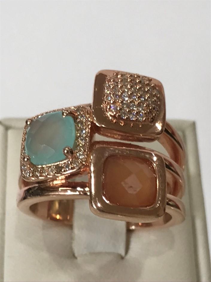 Stunning Stacker Ring & 18K Rose/Gold Vermeil Ring. Size O 1/2 (7.75)