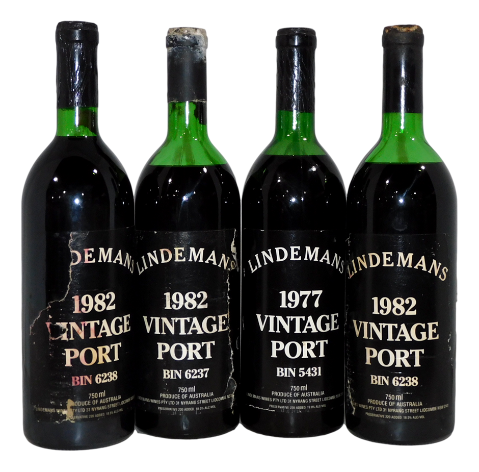 Mixed Lindemans Vintage Port 77/82 (4x 750mL), NSW. Cork