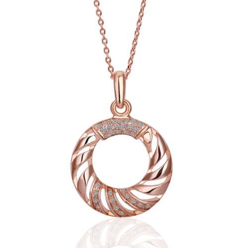 18K Rose Gold Filled Ring Pendant Necklace SWAROVSKI Crystal