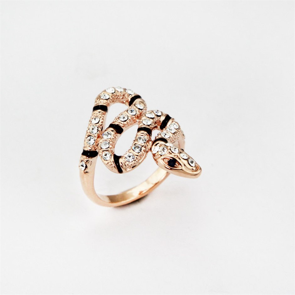 Boho Gothic Crystal Snake Ring ROSE GOLD filled Fashion Quality Jewellery