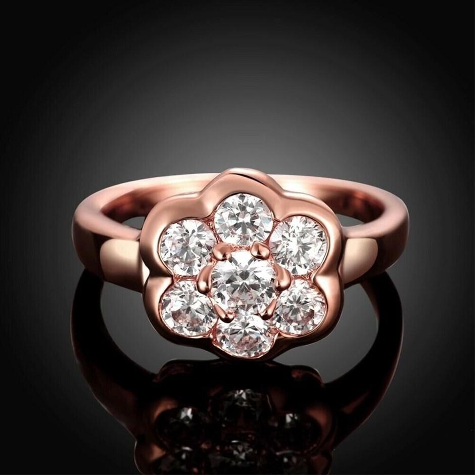 18K Rose Gold plated Stunning Crystal Engagement Wedding Flower Rings
