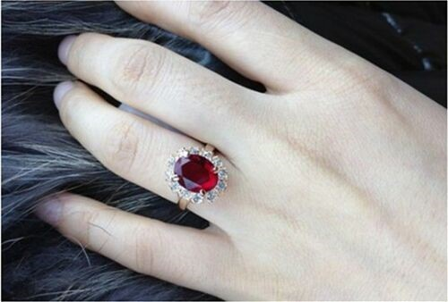 18K Rose Gold filled Emerald red Simulated Wedding Band Ring Elegant