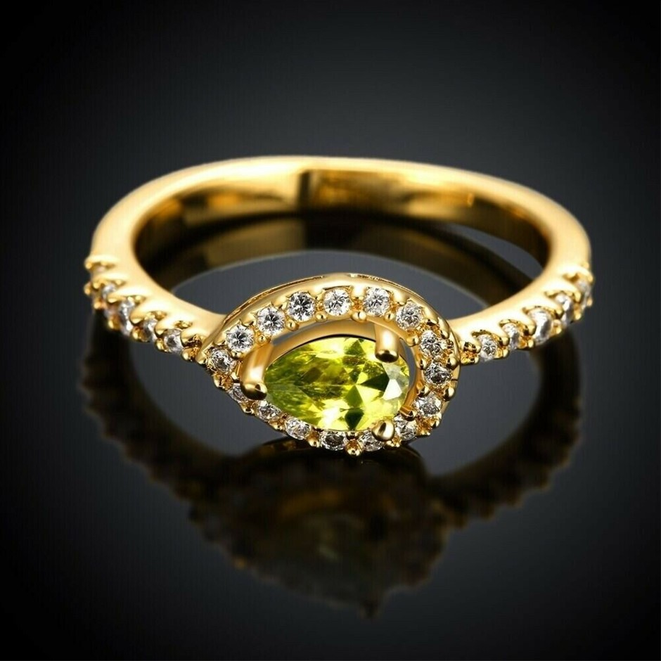 Lady's 18K Gold filled Crystal Wedding Engagement Ring