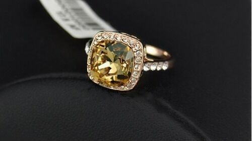 18K Rose Gold filled Big Champagne Crystal Fashion Ring Women's