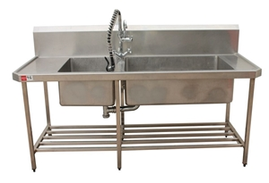 Sink With Two Basin And Under-Shelf And