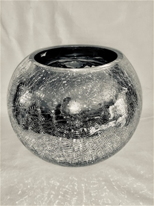 SILVER ROUND GLASS VASE WITH CRACKLED EF