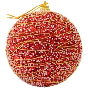 9 Pack Christmas Balls: Red glitter cove