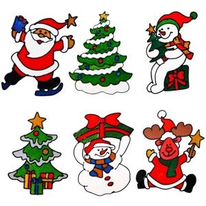 6 Set Christmas window decals: Set of 6