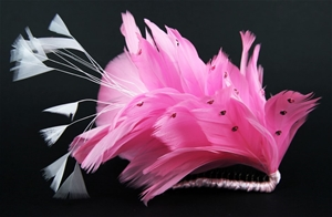 2 x FASCINATOR - PALE PINK FEATHERS WITH