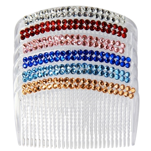 20 x CLEAR HAIR COMB with plastic diaman
