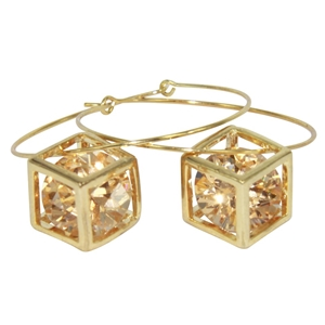 EARRINGS: ORANGE CUBIC ZIRCONIA, GOLD PL